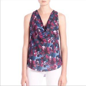 Haute Hippie floral silk cowl neck tank top M